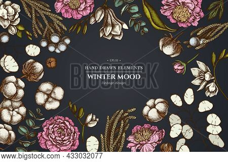Floral Design On Dark Background With Ficus, Eucalyptus, Peony, Cotton, Freesia, Brunia Stock Illust