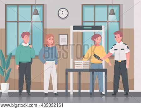 Security Guard Agency Service Cartoon Composition With Indoor Scenery And People Scanner With Charac