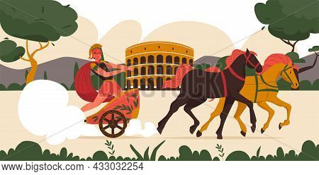 Ancient Roman Warrior In Chariot Pulled By Two Horses On Background With Colosseum Flat Vector Illus