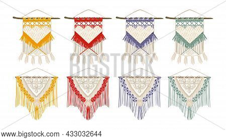 Handcrafted Macrame Color Set Of Wall Hanging For House Decoration Isolated Vector Illustration