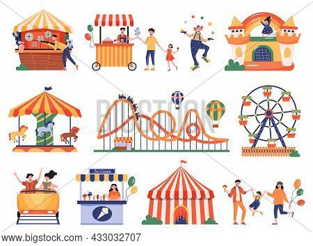 Amusement Park Color Set Of Isolated Icons With Characters Of Visitors Workers And Amusement Ride Eq