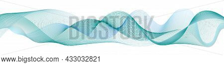 Wave Swirl Swoosh, Blue And Teal Color Flow. Sea Water Wave, Air Wind Undulate Curve Line. Smooth Sw