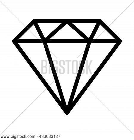 Brilliant, Diamond Icon. Line Art Style Sign For Mobile Concept And Web Design