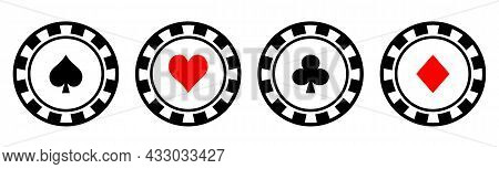 Set Of Poker Chips With Card Symbols. Playing Poker Concept. Vector Illustration