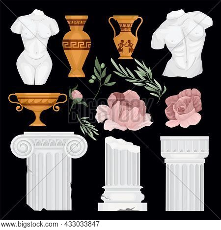 Antique Greek Background Set With Isolated Doodle Images Of Greek Columns Leaves Flowers And Golden