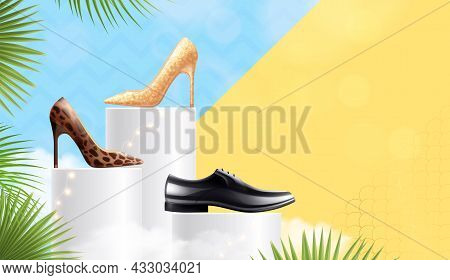 Classic Footwear Display Window Realistic Composition With Women High Heels And Men Formal Occasions
