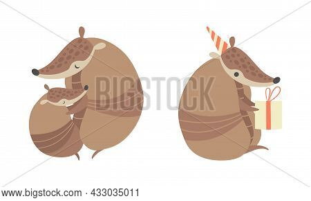 Cute Armadillo Character With Armor Shell Holding Gift Box And Embracing His Baby Cub Vector Set