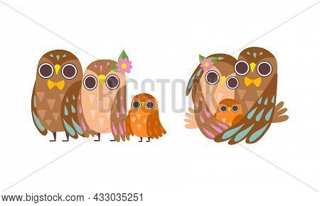 Happy Owl Family With Father, Mother And Baby Standing And Embracing Vector Set
