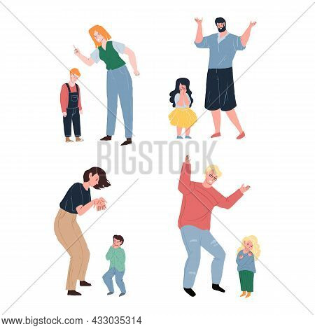 Set Of Vector Cartoon Flat Parent Character Swears, Yells At Upset Crying Child.healthy Family Relat