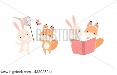 Pretty Little Bunny And Fox Cub Playing Together As Best Friends Vector Set