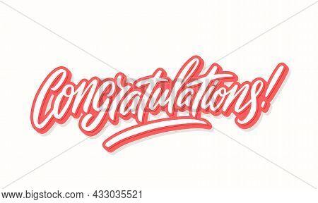 Congratulations. Vector Handwritten Lettering Card. Vector Illustration.