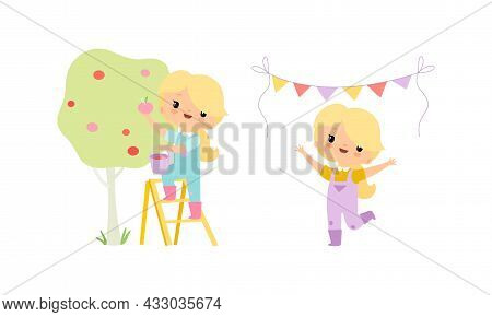 Little Blond Girl In Jumpsuit At Farm Cheering And Picking Ripe Apples From Tree Vector Set