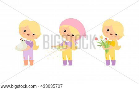 Little Blond Girl In Jumpsuit At Farm Feeding Poultry And Holding Bunch Of Tulip Flower Vector Set