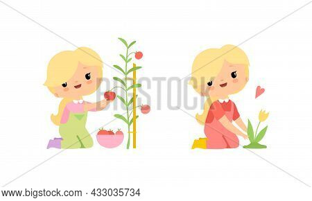 Little Blond Girl In Jumpsuit At Farm Caring About Tulip Flowers And Picking Tomato Vector Set