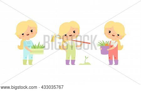Little Blond Girl In Jumpsuit At Farm With Rake And Rootstock Vector Set