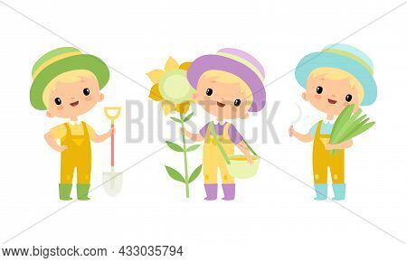 Little Blond Boy In Jumpsuit And Hat At Farm With Sunflower And Shovel Vector Set