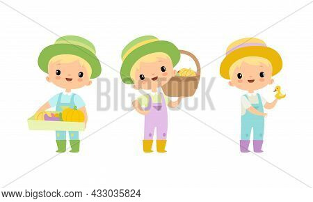 Little Blond Boy In Jumpsuit And Hat At Farm Holding Basket With Ripe Vegetables Vector Set