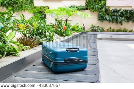 suitcase on a conveyor belt surrounded by green tropical plants in a baggage claim area at the airport travel background