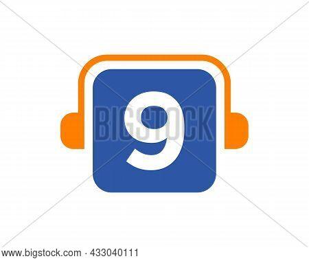 Headphone Logo On 9 Letter. Letter 9 Music Logo Design Template