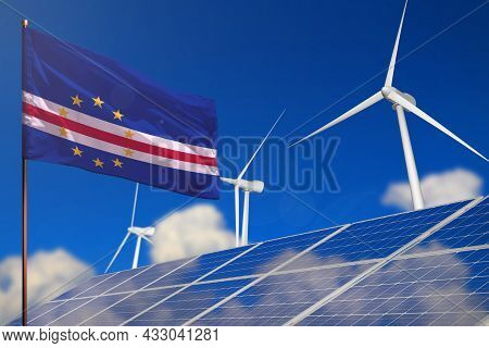 Cabo Verde Renewable Energy, Wind And Solar Energy Concept With Wind Turbines And Solar Panels - Alt