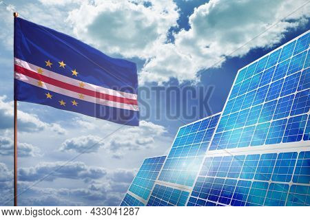 Cabo Verde Solar Energy, Alternative Energy Industrial Concept With Flag - Fight With Global Warming