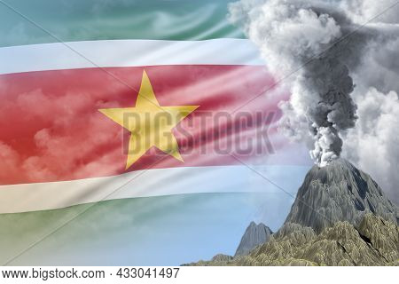 Volcano Blast Eruption At Day Time With White Smoke On Suriname Flag Background, Problems Of Disaste