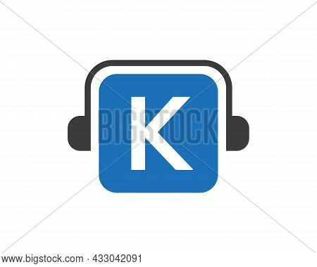 Headphone Logo On K Letter. Letter K Music Logo Design Template Headphone Concept