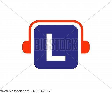 Headphone Logo On L Letter. Letter L Music Logo Design Template Headphone Concept
