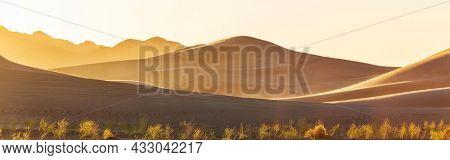 Scenic sand dunes in desert. Natural background.