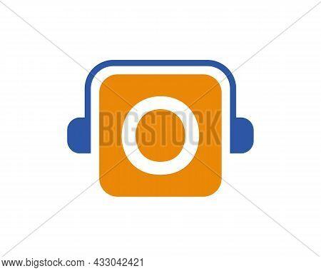Headphone Logo On O Letter. Letter O Music Logo Design Template Headphone Concept