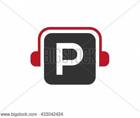 Headphone Logo On P Letter. Letter P Music Logo Design Template