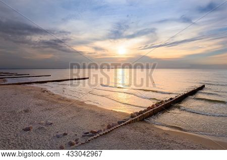 Sunset Over The Baltic Sea. Zelenogradsk, Russia
