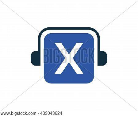 Headphone Logo On X Letter. Letter X Music Logo Design Template Headphone Concept