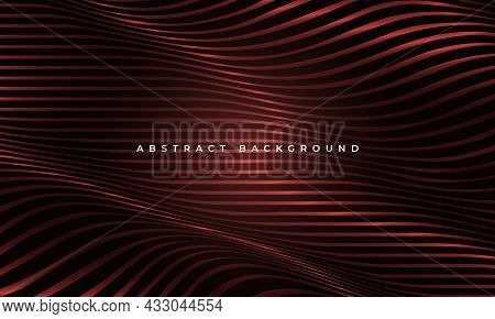 Abstract Luxury Red Wavy Glowing Fluid Shapes Elegance Geometric Background. Striped Horizontal Wave