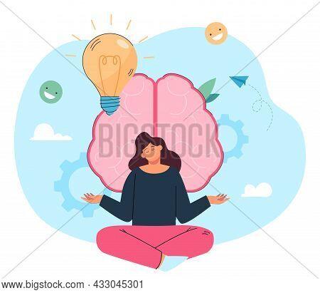 Happy Girl Doing Yoga Exercises In Front Of Huge Brain. Positive Mind, Spiritual Intelligence Flat V