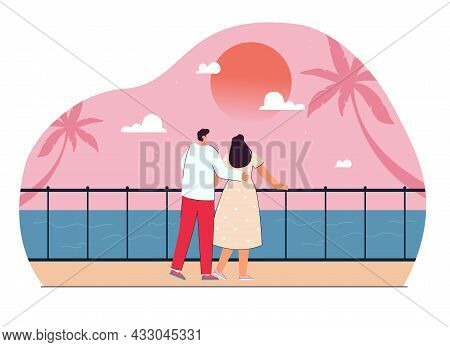 Cute Cartoon Couple Watching Sunset By Sea Together. Tourist Hugging Girlfriend On Romantic Vacation