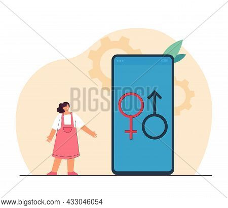 Girl Standing Next To Huge Phone With Male And Female Symbols. Kid Learning About Sex Flat Vector Il