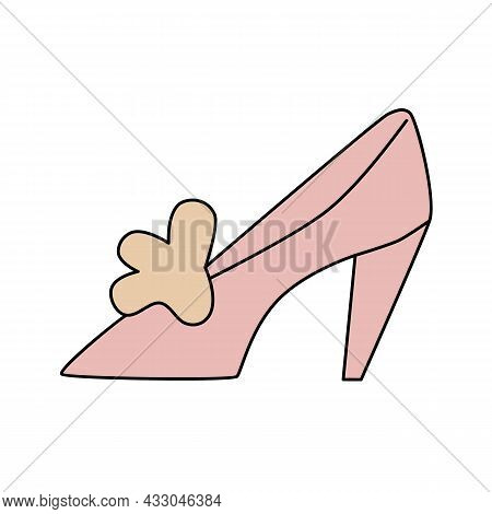 Women's High Heel Summer Shoe With Bow Decoration. Pink Footwear In Doodle Style. Cartoon Symbol Of