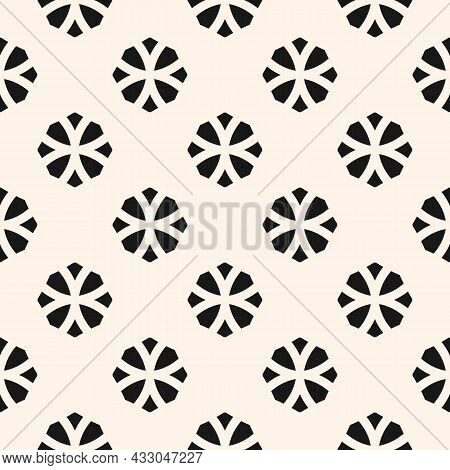Vector Geometric Floral Seamless Pattern. Simple Monochrome Ornament With Flower Silhouettes, Diamon