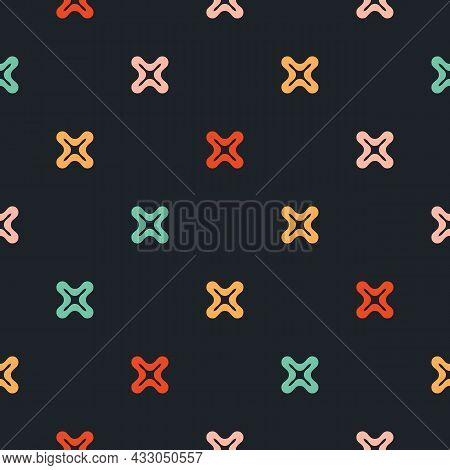 Minimalistic And Cool Seamless Pattern. Vector Illustration With Colorful Small Crosses, Plus Signs.
