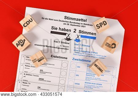 Dossenheim, Germany - August 2021: Ballot Paper For German Federal Parliament Election Called 'bunde