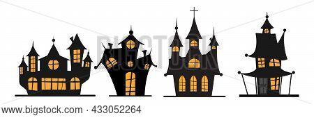 Set Of Halloween Black Castle With Yellow Windows. Vector Illustration