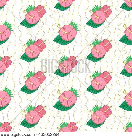 Vector Seamless Pattern With Hibiscus Flowers And Palm Leaves. Tropical Flower Pattern For Printing