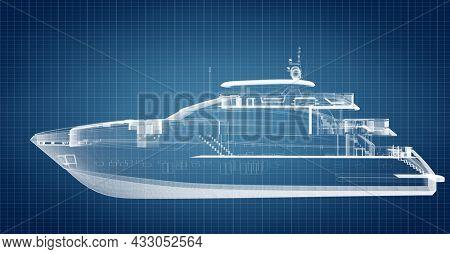 Blueprint technical design of motor yacht. Modern engineering