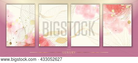 Luxurious Golden Wallpaper. A Set Of Four Backgrounds. White With Spots Of Pink Watercolor. Golden C