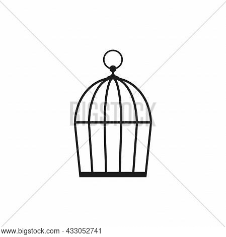 Locked Bird Cage Icon. Trap, Imprisonment, Jail Concept. Empty Cage. Line Silhouette Of A Cage For A