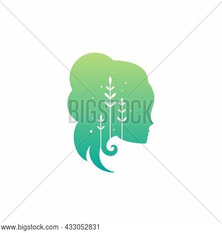 Girl's Head With Leaves. Relationship And Psychology Logo Isolated On White. Woman Psychology Or Ski