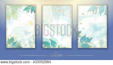 Set Of Backgrounds. Luxurious Golden Wallpaper. White Background And Blue Watercolor, Beautiful Gold
