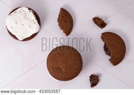Homemade Chocolate Chip Cookie Ice Cream Sandwich.