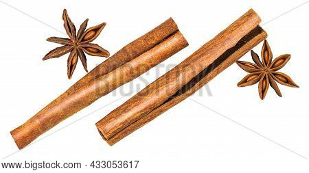 Cinnamon Sticks And Anise Star Isolated On White Background. Top View.